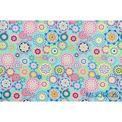 Kolorowe kwiaty, koła na niebieskim tle - tkanina bawełniana
