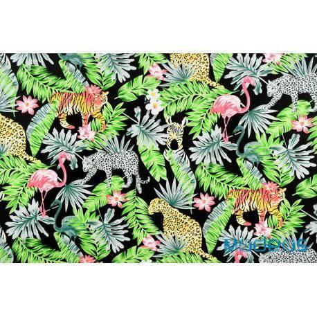 Dżungla na czarnym tle - tkanina bawełniana