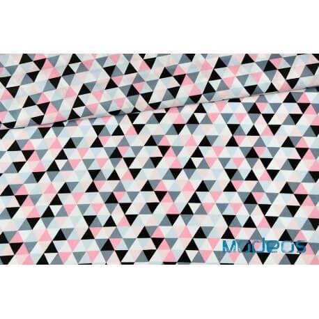 Trójkąty różowe, czarne, szare - tkanina bawełniana