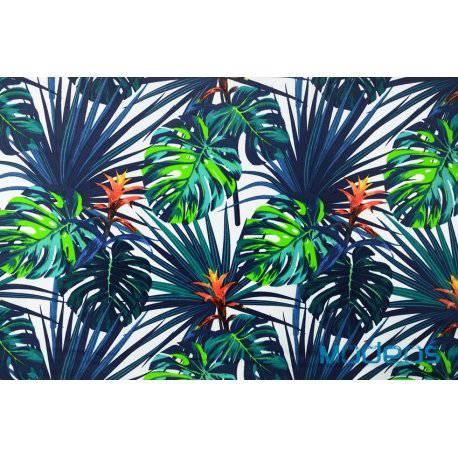 Niebieskie i zielone liscie palmy monstera - tkanina bawełniana