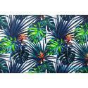 Niebieskie i zielone liście palmy monstera 3 kupony - tkanina bawełniana