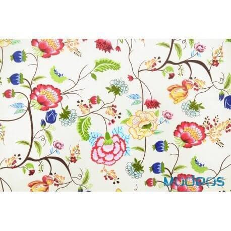 Kwiaty, kwiatki na ecru - tkanina bawełniana