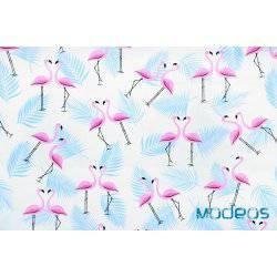 Flamingi i niebieskie liście - tkanina bawełniana