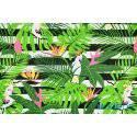 Papugi i liście palmy monstera, pasy czarne - tkanina bawełniana