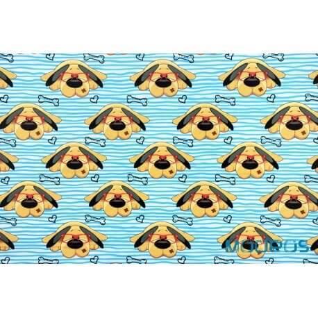 Psy pieski w okularach na niebieskich pasach - tkanina bawełniana
