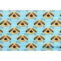 Psy, pieski w okularach na niebieskich paskach - tkanina bawełniana