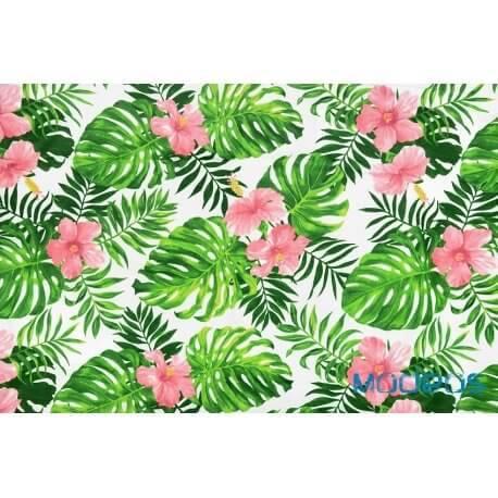 Liście palmy monstera kwiaty na białym tle - tkanina bawełniana