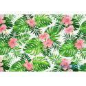 Liście palmy monstera, kwiaty na białym tle - tkanina bawełniana