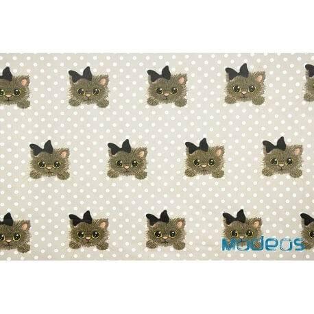 Koty kotki z kokardą na tle w groszki kropki - tkanina bawełniana