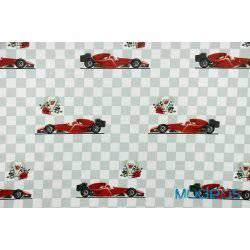 Formula 1 na szachownicy - tkanina bawełniana