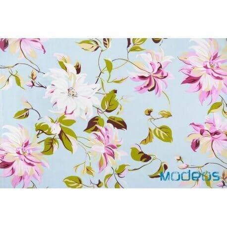 Magnolie kwiaty na błękitnym tle - tkanina bawełniana