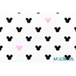 Czarna, różowa myszka miki na białym tle - tkanina bawełniana