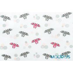 Nietoperze różowe, szare - tkanina bawełniana