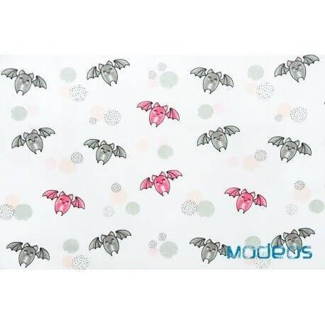 Nietoperze różowe szare - tkanina bawełniana
