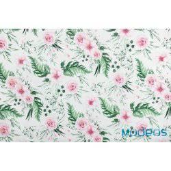 Kwiaty, różowe róże, zielone liście in garden - tkanina bawełniana