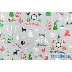 Wzór świąteczny renifery choinki na szarym tle - tkanina bawełniana