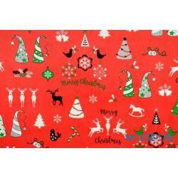 Wzór świąteczny, renifery, choinki na czerwonym tle - tkanina świąteczna