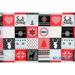 Świąteczny czerwony patchwork - tkanina bawełniana