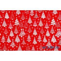 Białe choinki na czerwonym tle - tkanina świąteczna