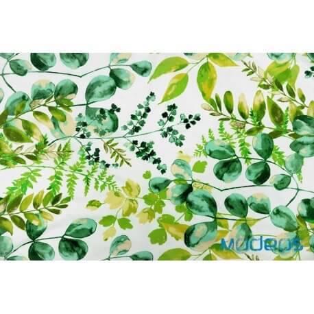 Liście zielone na białym tle - tkanina bawełniana