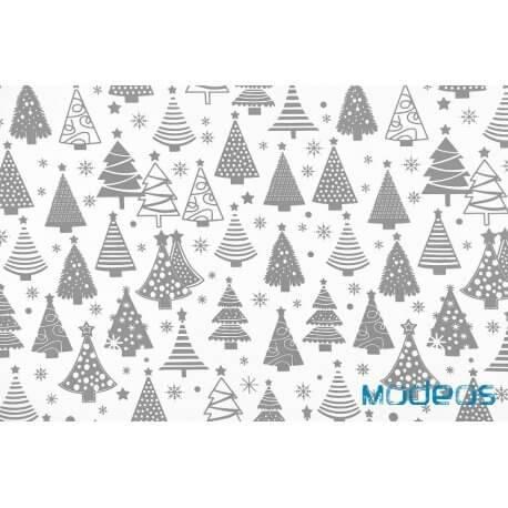Szare choinki na białym tle - tkanina świąteczna