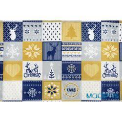 Świąteczny, złoty, granatowy patchwork - bawełna świąteczna