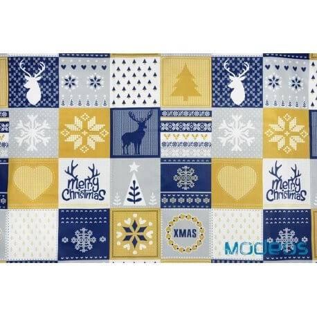Świąteczny złoty granatowy patchwork - bawełna świąteczna