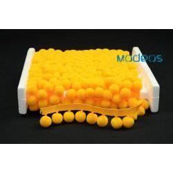 Taśma z pomponami, pomponikami dużymi - pomarańczowa