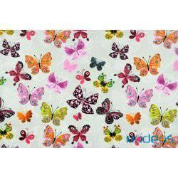 Kolorowe motyle na szarym tle - tkanina bawełniana