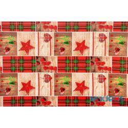 Serca kratka gwiazdy - tkanina świąteczna