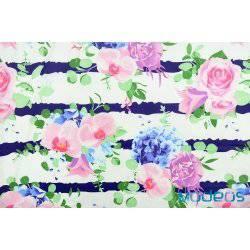Kwiaty na granatowych pasach - tkanina bawełniana