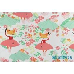 Lisica baletnica z parasolem na białym tle - tkanina bawełniana