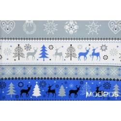 Świąteczny, granatowy szary sweterek - bawełna świąteczna