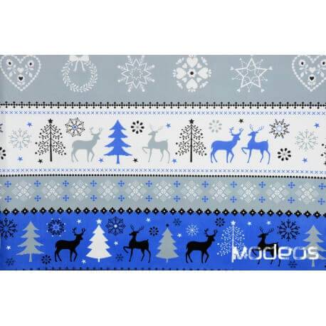 Świąteczny granatowy szary sweterek - tkanina świąteczna