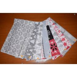 Kawałki tkanin świątecznych, pakiet 5m - resztki materiałów