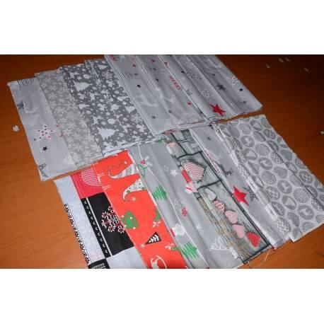 Kawałki tkanin świątecznych, pakiet 9m - resztki materiałów