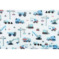 Pojazdy budowlane, maszyny niebieskie - tkanina bawełniana