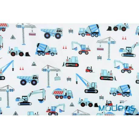 Pojazdy budowlane, maszyny niebieskie- tkanina bawełniana