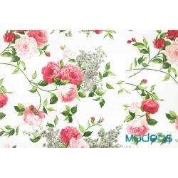 Róże, kwiaty na ecru tle - tkanina bawełniana