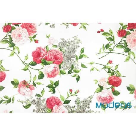 Róże kwiaty na ecru tle - tkanina bawełniana