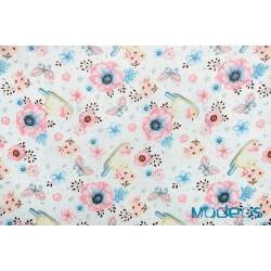 Ptaszki, różowe wróbelki, kwiaty - tkanina bawełniana