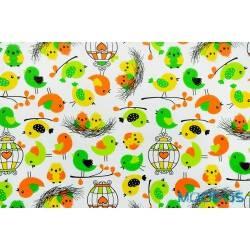 Ptaszki żółte zielone - tkanina bawełniana