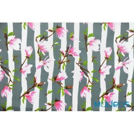 Magnolie kwiaty na szarych pasach - tkanina bawełniana