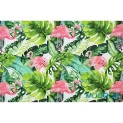 Flamingi i liście tropikalne - tkanina bawełniana