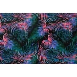 Piórka kolorowe na czarnym tle - tkanina bawełniana