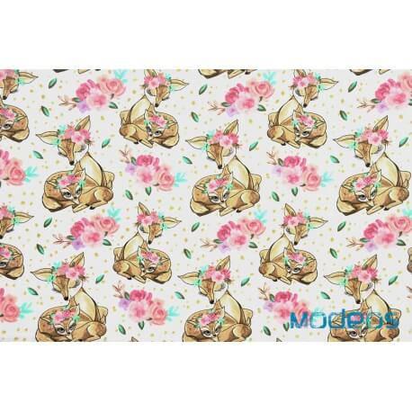 Sarenki i kwiaty - tkanina bawełniana