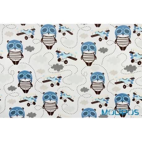 Panda pilot - tkanina bawełniana