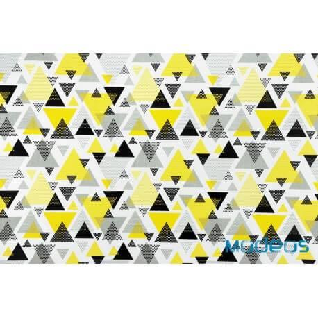 Trójkąty kryształki żółte czarne szare - tkanina bawełniana