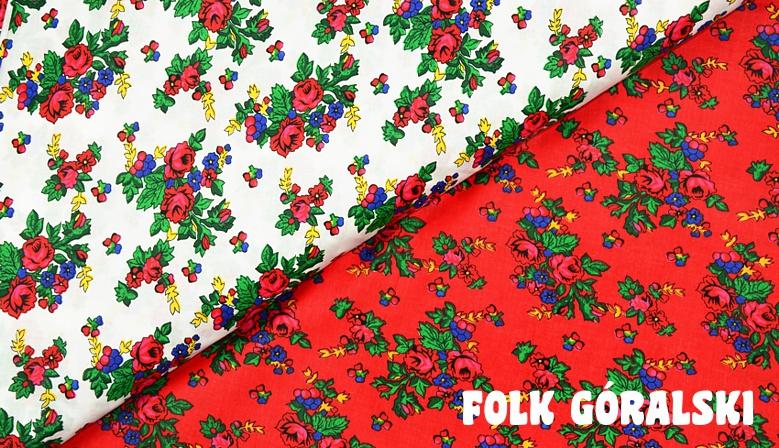 Materiał folk góralski biały i czerwony, wzory ludowe